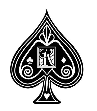 Fancy black Spade card suit, with K monogram.