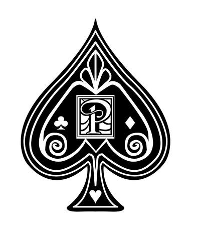 Fancy black Spade card suit, with P monogram.