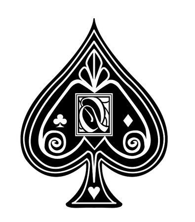 Fancy black Spade card suit, with Q monogram.