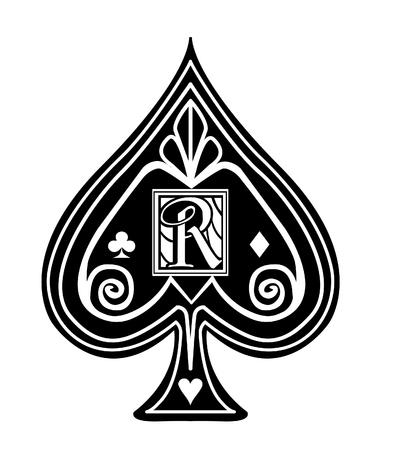 Fancy black Spade card suit, with R monogram. Illustration