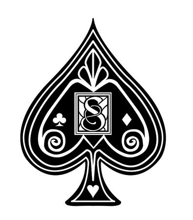 Ausgefallener schwarzer Spade-Kartenanzug mit S-Monogramm.