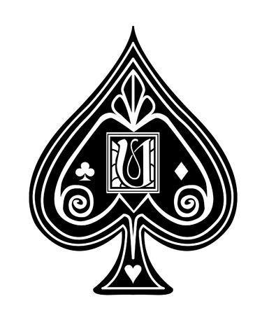 Fancy black Spade card suit, with U monogram.