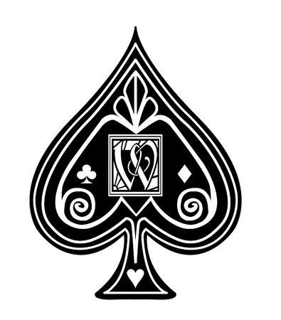 Fancy black Spade card suit, with W monogram.