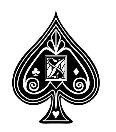 Fancy black Spade card suit, with X monogram.