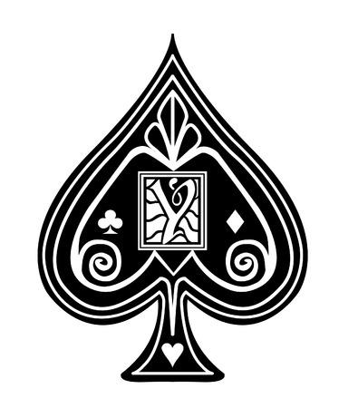 Fancy black Spade card suit, with Y monogram.