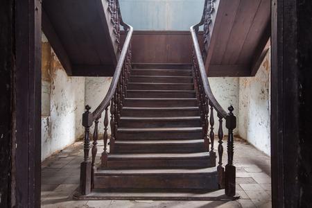 old stair of fire station Bangrak in Bangkok at Thailand, Vintage stair