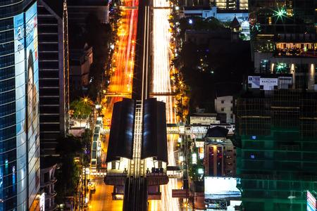 bangkok NIGHT: traffic of Bangkok night bird eye view