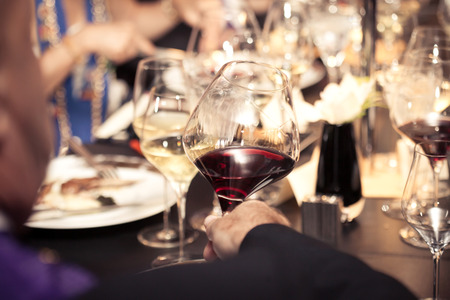 red wine on hand with dinner on restaurant
