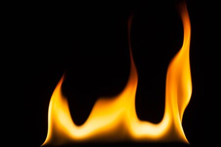 gas fireplace: blaze of fire isolated on black ground
