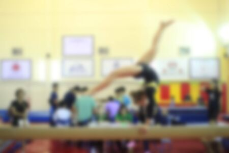 dance preteen: blurry of competition gymnastics of kid Stock Photo