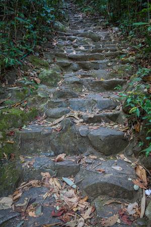 namtok: stair made from rock and cement of Namtok Phliu National Park Chanthaburi at Thailand