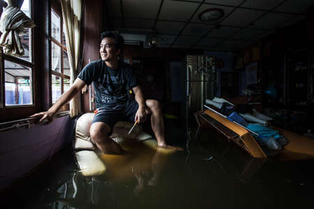 thailand flood: Nonthaburi flood in Thailand 2011-The lifestyle of people in massive flooding, Nonthaburi in Thailand, October 28, 2011 Editorial