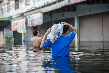 thailand flood: Nonthaburi flood in Thailand 2011-The lifestyle of people in massive flooding, Nonthaburi in Thailand, November 1, 2011 Editorial