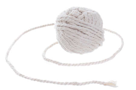 fastening objects: White rope roll on white background. Stock Photo
