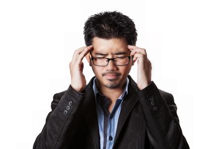 ocd: Asian businessman headache and him has strain with problem all around him.