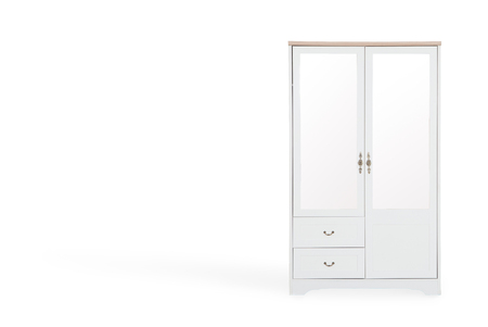 clothing store: White wardrobe isolated on white background with space for copy.