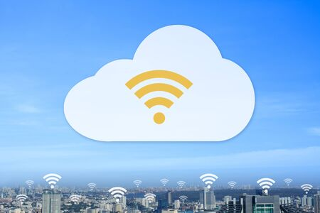 Modern city using transfer all data part cloud concept. Stock Photo