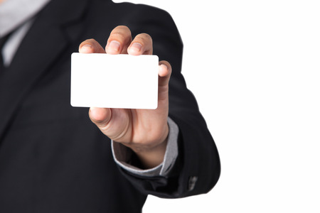 smartness: A Businessman showing his name card with space for copy.