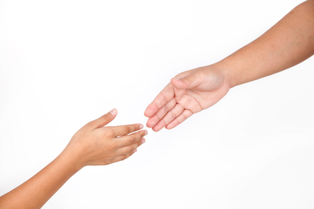 Hands is part of body woman and kid isolated for helping with white background.