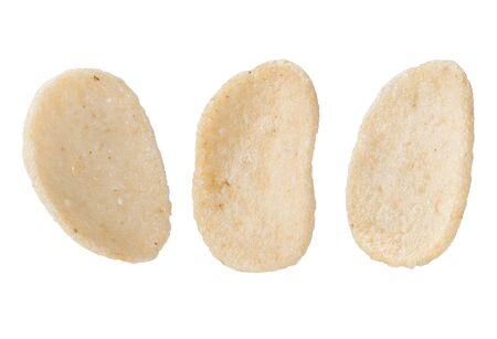 Close up shrimp rice cracker thai snack isolated on white background.