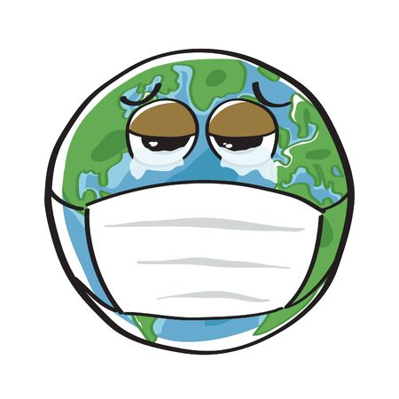 Vector of Earth is crying and wearing the mask isolated on white background. Free Hand drawn style.