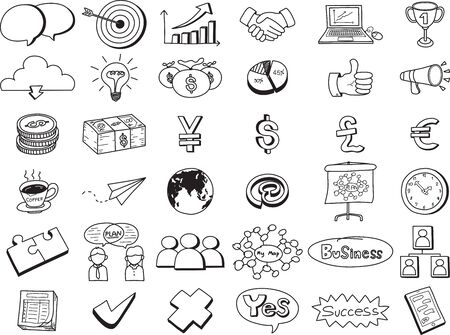 vector icons business doodle set isolated on white background. Freehand style.