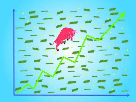 Grown up graph (green) with red bull with scattering money paper and coin vector (illustration). 版權商用圖片