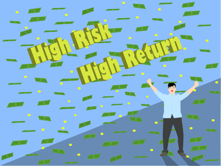 High risk high return make men happy and get more money. Scattering (sprinkle) money paper (coin) vector (illustration) blue background. 版權商用圖片