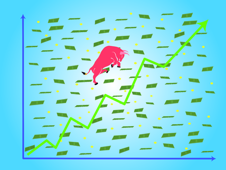 Grown up graph (green) with red bull with scattering money paper and coin vector (illustration). 向量圖像