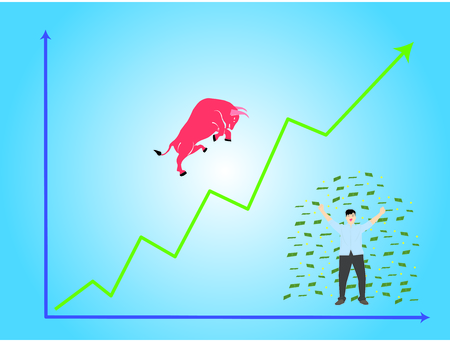 Grown up graph (green) happy men (human) scattering money paper (coin) and red bull vector. Illustration