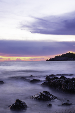 Landscape of sea and mountain shoot with long exposure at Ko Sichang.