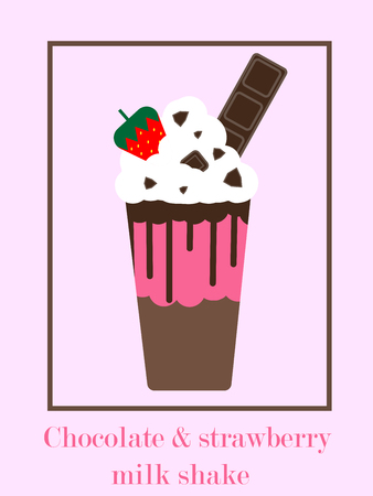 Chocolate and strawberry milk shake (smoothies,drinks,beverage,frappe) topping with chocolate bar, choclate sauce, strawberry and whipping cream. Drinks vector.