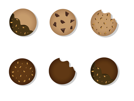 Isolated butter cookies and chocolate cookies coating with chocolate and almonds vector.