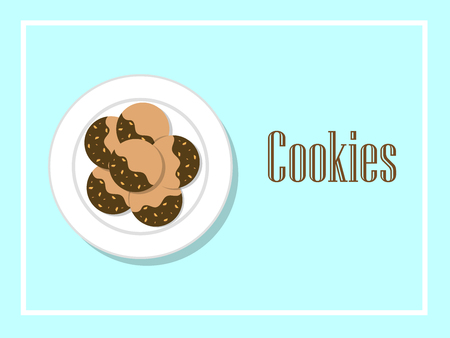 Butter cookies coating with chocolate and almonds on white plate with text vector. Фото со стока