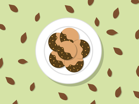 Butter cookies coating with chocolate and almonds on white plate and whole almonds around plate vector.