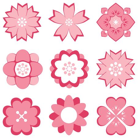 pink flower: pink flower set Illustration