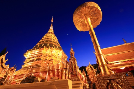 thai believe: Doi Suthep Temple in Chiengmai, Thailand at Night Time