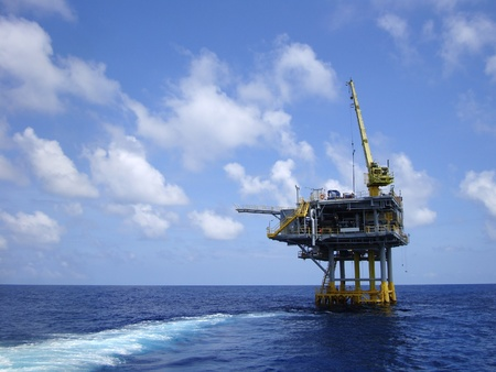 construction platform: Offshore Production Platform In the Middle of Ocean