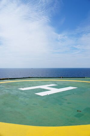 helideck: Helideck of Oil Drilling Rig In The Middle of The Sea
