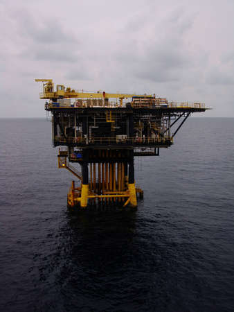 Offshore Production Platform For Oil and Gas Development on Couldy Day photo