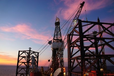 Oil Rig (Jack Up Drilling Rig) at Twilight Time photo
