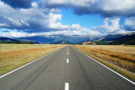 long road: Country Road - Highway 63 in Newzealand