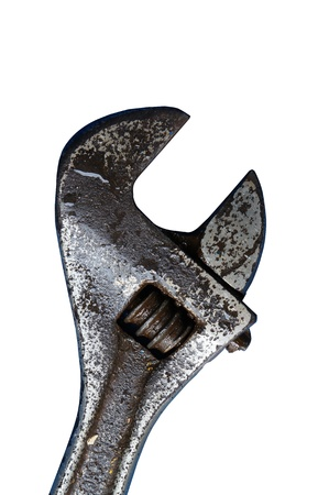 Old adjustable wrench isolated on white background photo