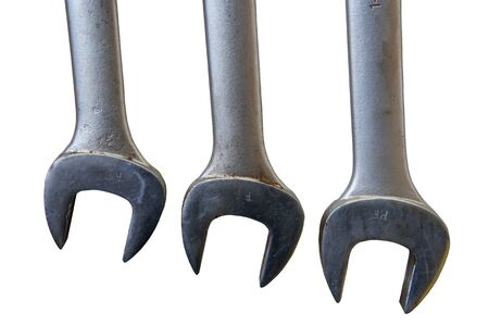 forkwrench: Three Used Wrench Isolated on White Background