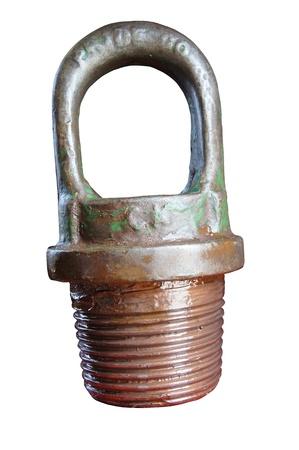 yacimiento petrolero: Cap de elevación (equipos para ligfting tubería de perforación) aisladas sobre fondo blanco