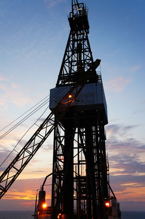 Jack Up Drilling Rig (Oil Drilling Rig) During Twilight Time    photo
