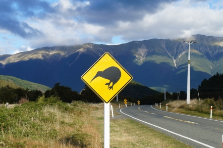 Kiwi warning sign by the road in Newzealand