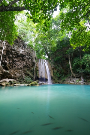 Cascade waterfall  Erawan Waterfall  in Thailand Stock Photo