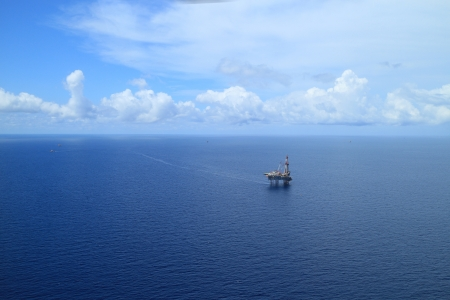 Aerial View of Offshore Jack Up Drilling Rig in The Middle of The Ocean