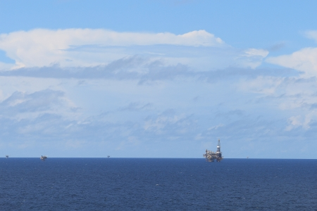 Offshore drilling rig and platforms in the offshore oil gas field photo